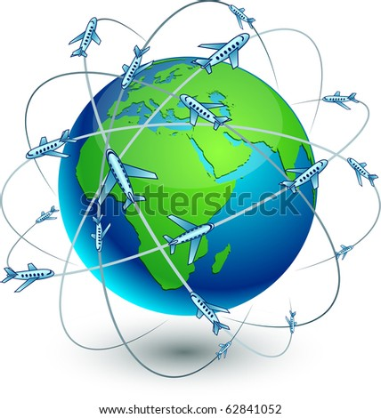Blue high-detailed Communication Earth. Vector. - stock vector