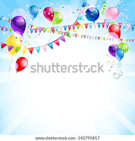 Blue holiday background with balloons - stock vector
