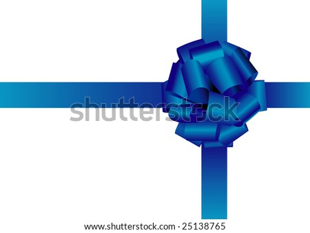 blue holiday silk bow on white background - stock vector