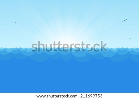 Blue horizon ocean view with rising sun, simple waves and seagulls. - stock vector