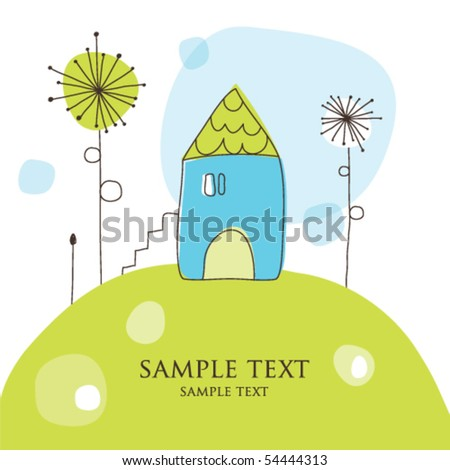 Blue house on the hill - stock vector
