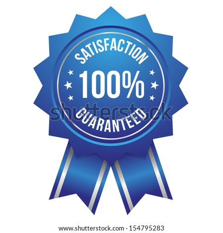 Blue hundred percent satisfaction badge - stock vector
