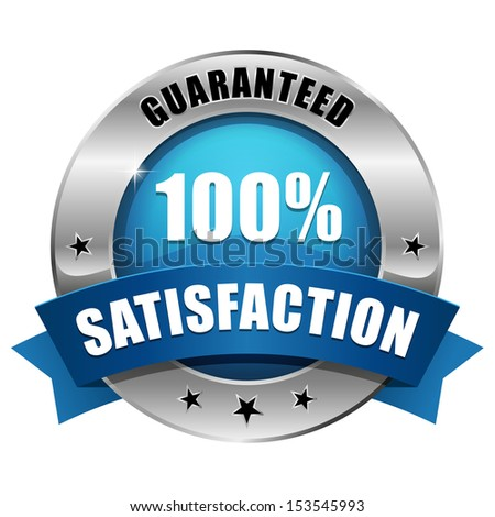 Blue hundred percent satisfaction seal - stock vector