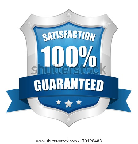 Blue hundred percent satisfaction shield - stock vector