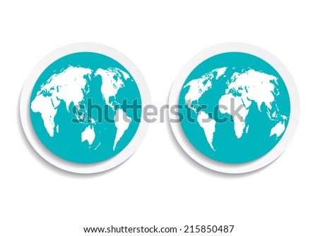 blue icon button flat planet earth on both sides - stock vector