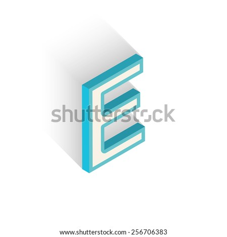 Blue icon isometric letter E with a shadow on a white background. Vector Illustration - stock vector