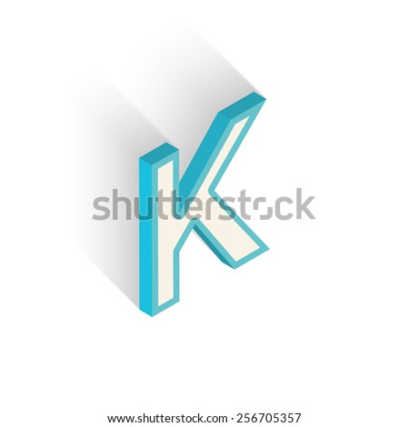Blue icon isometric letter K with a shadow on a white background. Vector Illustration - stock vector