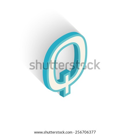 Blue icon isometric letter Q with a shadow on a white background. Vector Illustration - stock vector