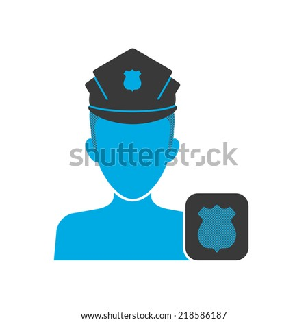 Blue icon of policeman wearing uniform with badge - stock vector