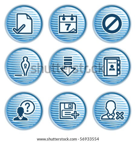 Blue icon with button 2 - stock vector