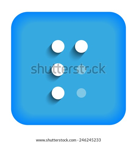 Blue icon with the letter P Braille - stock vector