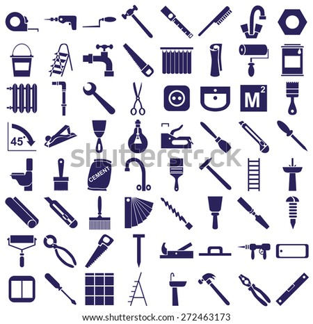 blue  icons in white background on repairs and tools. - stock vector