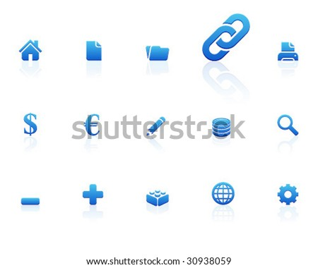 blue icons | set 1 - stock vector