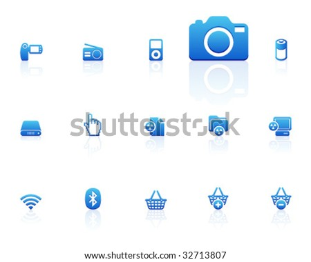 blue icons   set 14 - stock vector