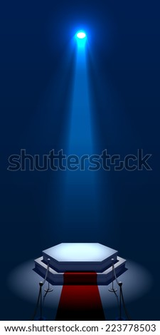 Blue Illuminated Stage Podium with Red Carpet and Ropes on the Posts for Award Ceremony .Vector Illustration - stock vector