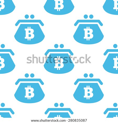 Blue image of purse with bitcoin symbol, repeated on white background - stock vector