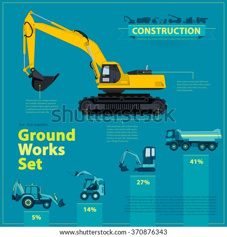 Blue info graphic big set of ground works blue machines vehicles. Catalog page. Heavy construction equipment for building truck digger crane bagger mix roller excavator transportation master vector. - stock vector