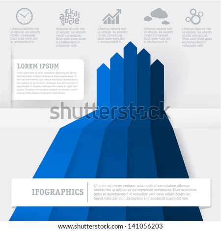Blue infographic chart template. Vector - stock vector