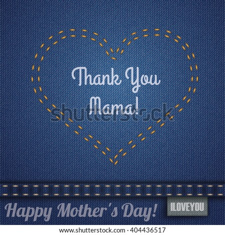 Blue jeans fabric with heart shape double-stitched seam for Mother's Day. Eps 10 vector file. - stock vector