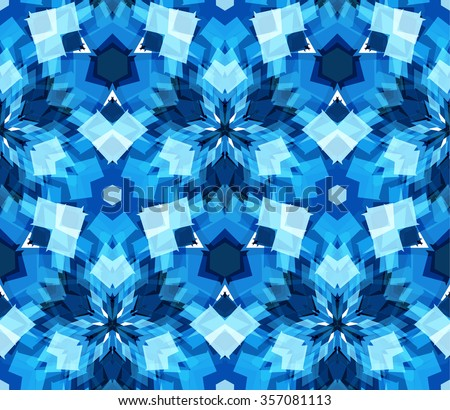 Blue kaleidoscope seamless pattern. Seamless pattern composed of color abstract elements located on white background. Useful as design element for texture, pattern and artistic compositions. - stock vector