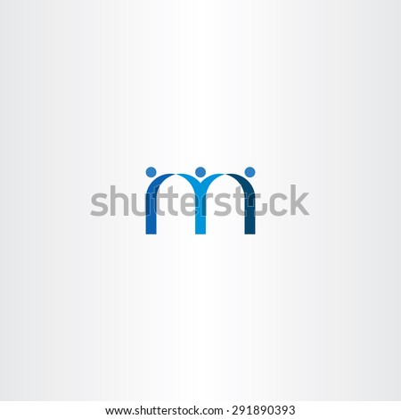 blue letter m people friends icon design - stock vector
