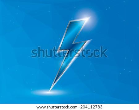 Blue lightning on polygon background - stock vector