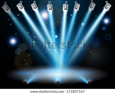 Blue lights focused on one spot in the centre - stock vector
