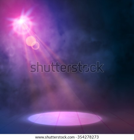 Blue Lilac Great Premiere Show Background. Smoky vector stage shining with spotlight's Rays  - stock vector