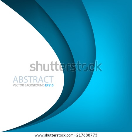 Blue line curve gradient background on white color background layer paper overlap for text and message modern artwork design - stock vector