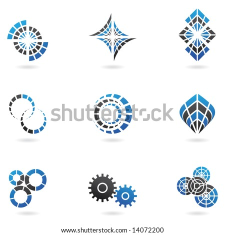 Blue Logos to go with your company name (set of 9) - stock vector
