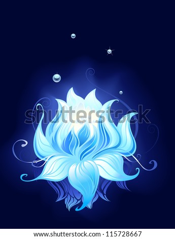 blue lotus with dew drops reflected in the dark water. - stock vector