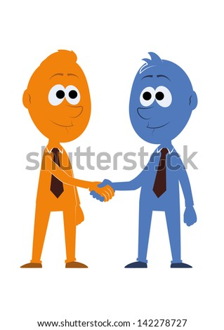 Blue man and orange man shake hands - stock vector