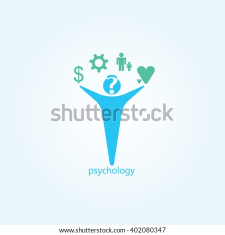 Blue man green icon gradients background for psychology logo design - stock vector