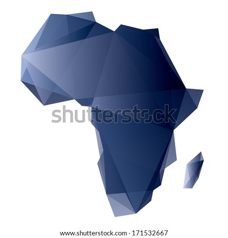 blue map of Africa in origami style - stock vector