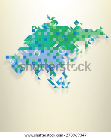 Blue map of Asia including a part of Russia with round white transparent rings overlay that can be used to locate different points - stock vector