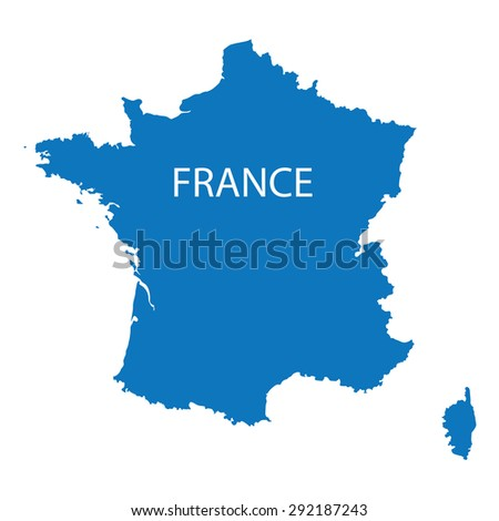 blue map of France - stock vector