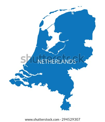 blue map of Netherlands - stock vector