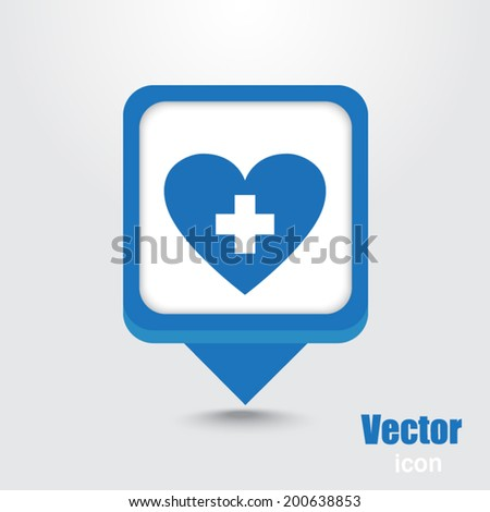 Blue map pointer sign icon - stock vector