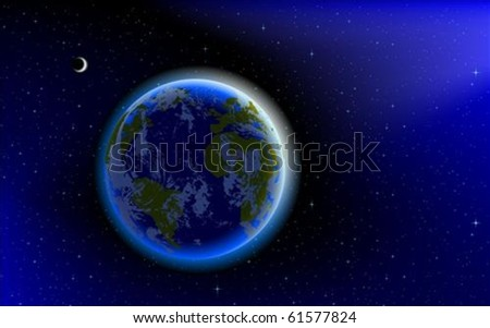 Blue Marble, planet Earth in space - stock vector