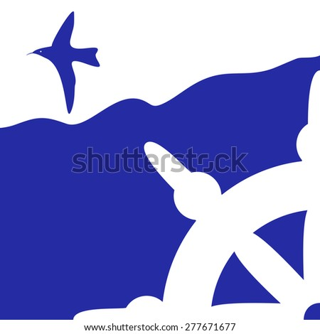 blue marine background with seagulls - stock vector