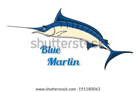 Blue marlin fish icon logo with a graceful side view of the fish and the text - Blue Marlin - below - stock vector