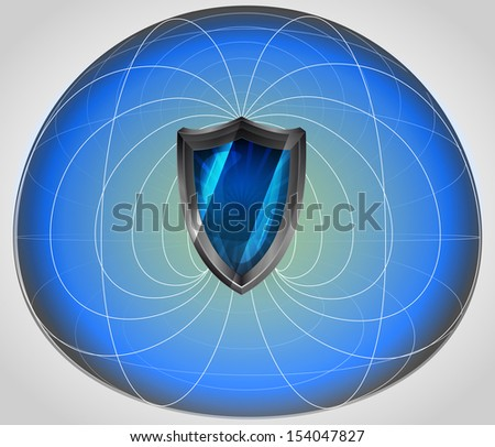 blue matrix cell with shield in the middle vector illustration - stock vector