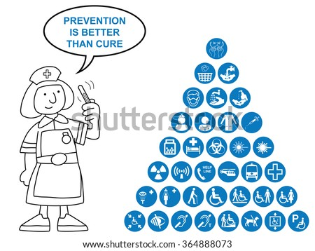 Blue Medical and health care related pyramid icon collection isolated on white background with prevention is better than cure message - stock vector