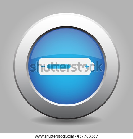 blue metal button - with white battery medium - stock vector