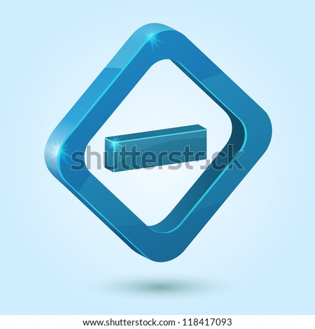 Blue minus symbol isolated on blue background. This vector icon is fully editable. - stock vector