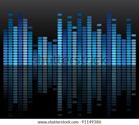 Blue mirrored equalizer - stock vector
