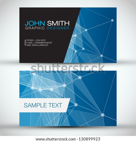 Blue Modern Business Card Set | EPS10 Vector Design - stock vector