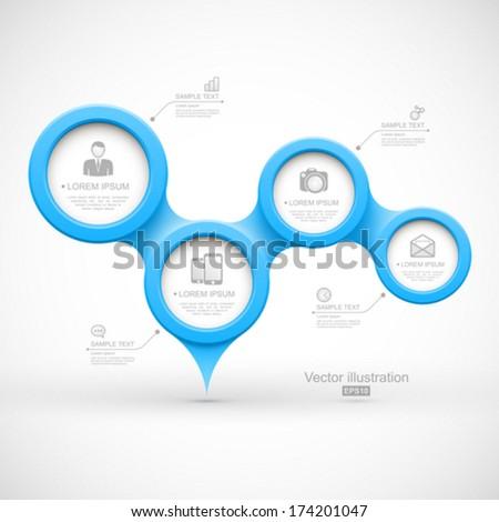 Blue modern business circles. - stock vector