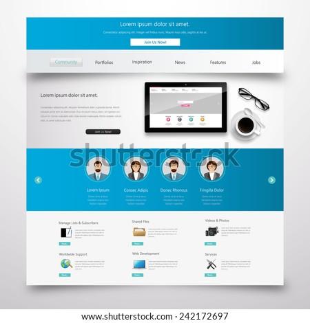 Blue Modern Clean Website Template Eps 10 Vector  - stock vector