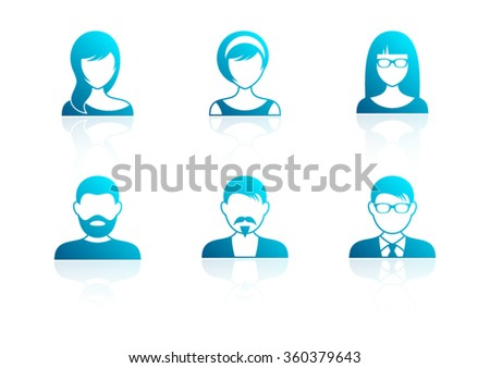 Blue modern men and women icons with reflection - stock vector